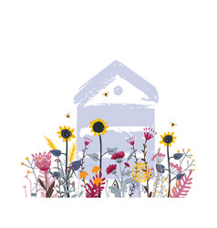Bright flower meadow with beehive in summer mix vector