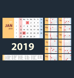 calendar 2019 beige set week starts on sunday vector image