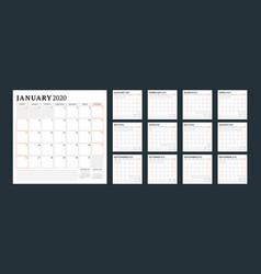 Calendar 2020 planner stationery design vector