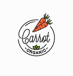 carrot vegetable logo round linear orange vector image