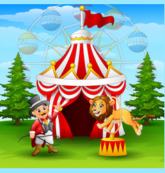 cartoon lion jumping through ring on the circus te vector image