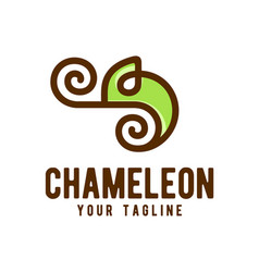 Chameleon logo design template vector
