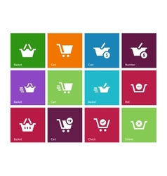 Checkout icons on color background vector