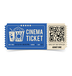 cinema ticket with qr code vector image
