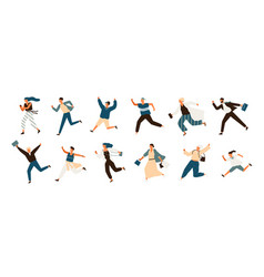 collection of joyful running men and women dressed vector image