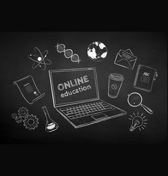 collection online education items vector image