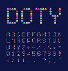 colorful dots style font design alphabet letters vector image