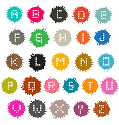 Colorful Grunge Splashes Alphabet ABC Set vector image