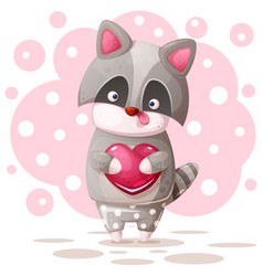 cute raccoon with pink heart vector image