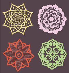Decorative set of flowers lotus mandalas vector image