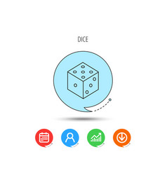 dice icon casino gaming tool sign vector image