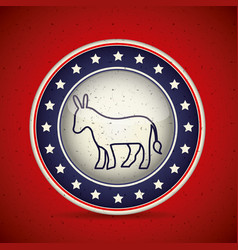 donkey inside button of vote concept vector image