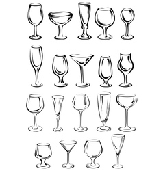 Doodle glassware and dishware sketches set vector image vector image