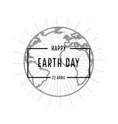 earth day holiday poster with shadow on white vector image