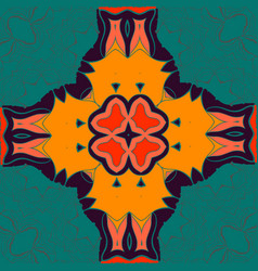 Elegant mandala-like pattern on green seamless vector