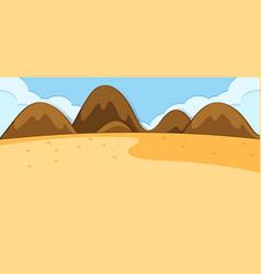 Empty desert nature scene in simple style vector