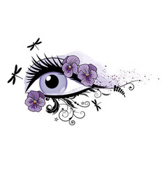 eye floral beautiful spring vector image