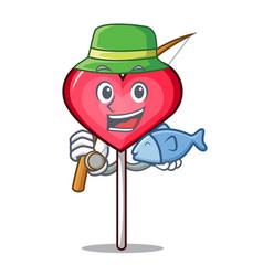 Fishing heart lollipop mascot cartoon vector