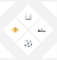 flat icon dress set of sneakers foot textile vector image