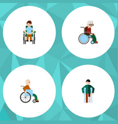 flat icon handicapped set of wheelchair vector image
