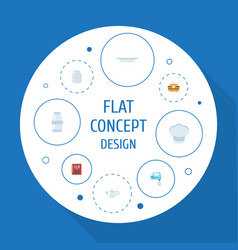 Flat icons dish teapot glass container and other vector