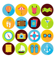 Flat Summer Holiday Icons Set vector image