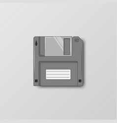 Floppy storage disc in vintage style on a gray vector