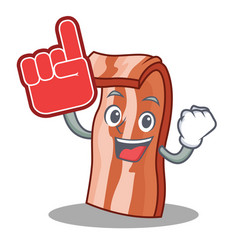 foam finger bacon mascot cartoon style vector image