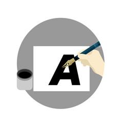 fontography brush school cartoon graphic design vector image