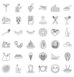 Gathering icons set outline style vector
