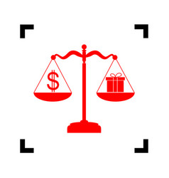 Gift and dollar symbol on scales red icon vector