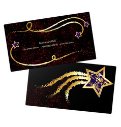 golden star business card concept vector image