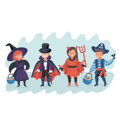 halloween kids costume party vector image