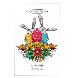 Happy easter poster invitation to eggs hunt party vector