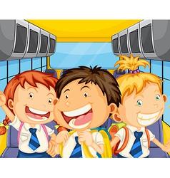 Happy kids inside schoolbus vector