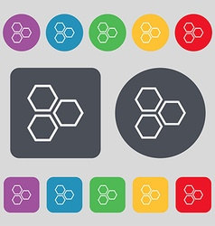 Honeycomb icon sign A set of 12 colored buttons vector image