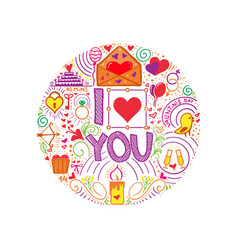 i love you doodle slogan for a t-shirt or poster vector image