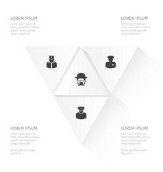 icon human set of sheriff security man detective vector image
