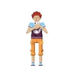 isolated of European redhead man with vector image