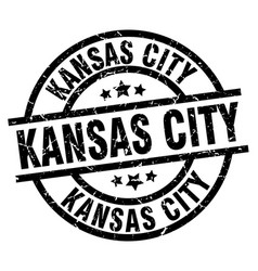 Kansas city black round grunge stamp vector