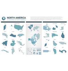 maps set high detailed 23 maps north american vector image
