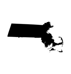 Massachusetts map silhouette isolated vector