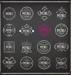Menu logo template vintage geometric badge food vector image