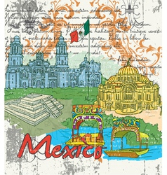 mexico doodles vector image