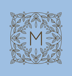Monogram m logo and text badge emblem line art vector