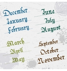 Months year hand writing gothic vector