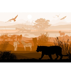 nature with wild animals Tiger Zebra goat monkey vector image