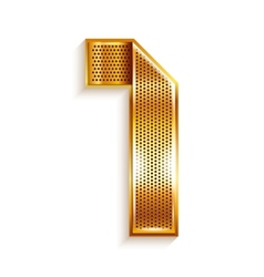 Number metal gold ribbon - 1 - one vector