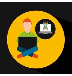 Online training education-student laptop genetics vector