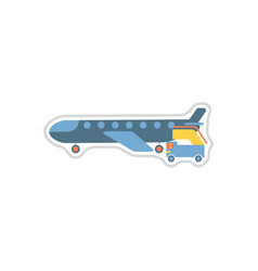 Paper sticker on white background airplane gangway vector